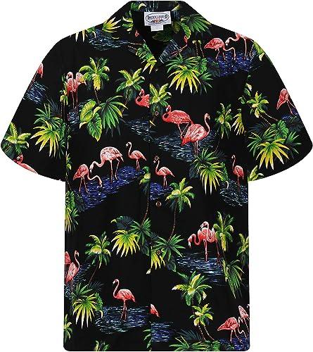 Pacific Legend   Original Hawaiihemd   Herren   S - 4XL   Kurzarm   Front-Tasche   Hawaii-Print   Flamingo Palmen Wasser   Schwarz