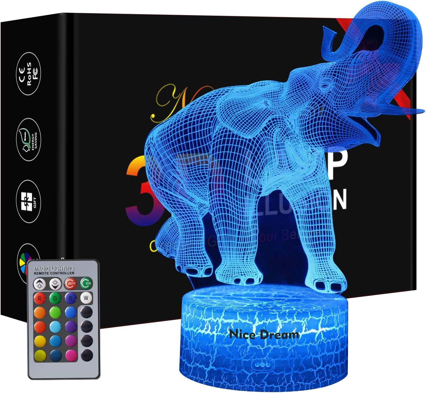 Elefant Nachtlicht für Kinder, 8D Illusions Lampe 8 Farben Ändern mit  Fernbedienung, Geburtstag Geschenk, Mädchen Geschenke 8 Jahre, Tochter ...