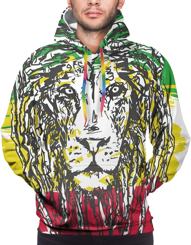 Men's Hoodies Sweatshirts,Ethiopian African Culture Hair Style Lion Head Portrait Grunge Backdrop
