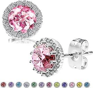 Adisaer Stud Earring for Women Gold Plated Birthstone February Purple CZ Teardrop Earring Stud for Bridal