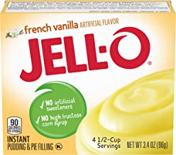 JELL-O Instant French Vanilla Pudding & Pie Filling (3.4 oz Boxes, Pack of 24)