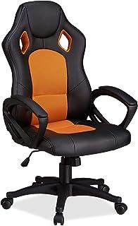 Relaxdays 10022876_57 Sedia da Gaming XR9 Poltrona Presidenziale Girevole da Gamer Comoda, Altezza Regolabile Design Racin...