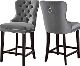 Meridian Furniture Nikki Collection Modern | Contemporary Grey Velvet Upholstered Counter Stool with Wood Legs, Button Tufting, Chrome Nailhead Trim, Set of 2, 21