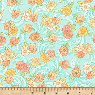 Robert Kaufman Alphonse Mucha Swirls & Florals Digital Fabric, Blue, Fabric By The Yard