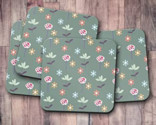 Posavasos verde con diseño floral, posavasos individuales o juego de 4