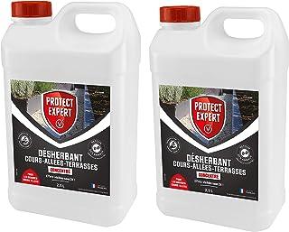 PROTECT EXPERT PROCOUR25X2 Désherbant Grandes Cours Allées Concentre | Lot 2X 2,5 L Agit par Contact Et Permet D'éliminer ...
