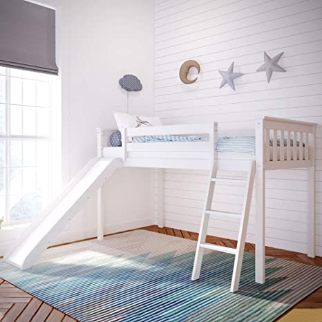 Amazon Com Max Lily Solid Wood Twin Size Low Loft Bed With Slide White Furniture Decor