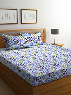 Bombay Dyeing Cynthia Polycotton Double Bedsheet with 2 Pillow Covers, Blue