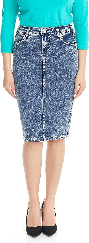 ESTEEZ Women's Soft Stretchy Denim Jean Pencil Skirt - Tummy Control - Miami