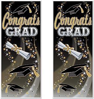 Beistle Plastic Reusable Congrats Grad Door Covers 2 Piece Hanging Decorations, Photo Booth Backdrop, Graduation Party Sup...