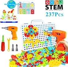 HAPTIME 237 Pieces Electric DIY Drill Educational Set, STEM Learning Toys, 3D..