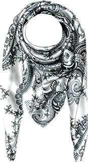 Lorenzo Cana Luxus Damen Seidentuch aufwändig bedruckt Tuch schwarz weiss 100% Seide 100 cm x 100 cm Damentuch Schaltuch 89005