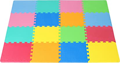 ProSource Puzzle Solid Foam Play Mat for Kids - 36 or 16 Tiles with Edges