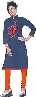 VOXVIDHAM Kurti Women's Cotton Denim Fancy Plain A-Line 3/4Th Sleeves Knee Length Kurti