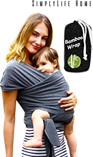 Simple Being Baby wrap Sling Carrier, Stretchy Bamboo Fabric, Soft Breathable Lightweight for Infants, New-Borns, Toddlers. Hypoallergenic, ergonomically Designed, one Size (Grey)