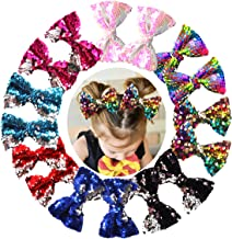 16PCS 5Inch Reversible Sequin Bows with Alligator Hair Clips Sparkly Sequin Glitter Pigtail Hair Bows for Girls Toddlers Kids Children in Pairs