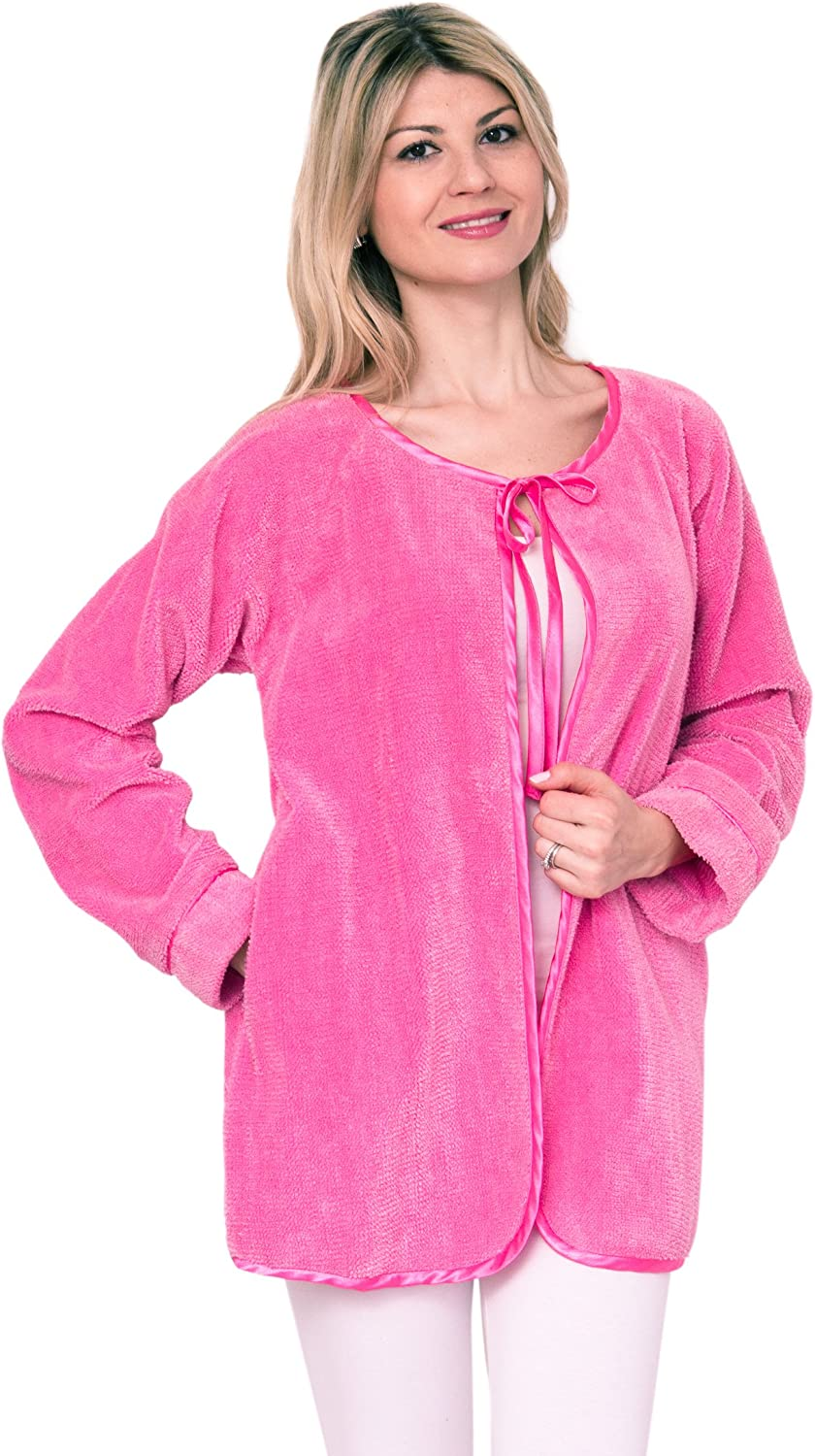 Bath & Robes Chenille Bed Jacket Satin Tie Up Soft Luxury
