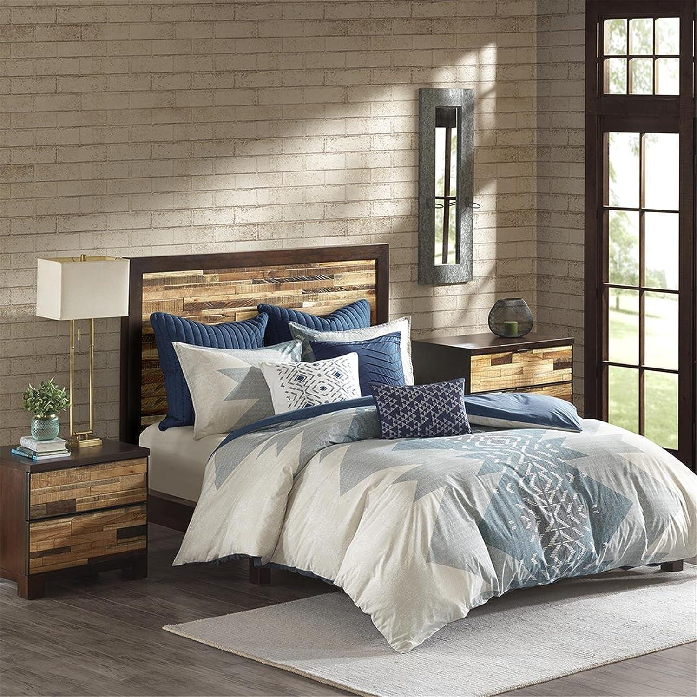 Ink+Ivy Nova Full Queen Size Bed Comforter Set - Ivory, bluee, Geometric – 3 Pieces Bedding Sets – 100% Cotton Bedroom Comforters