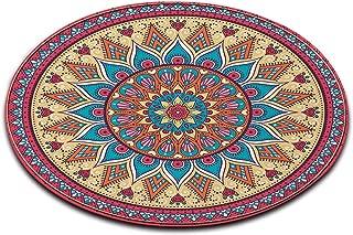 LB Mandala Pattern Print Round Rug, Indian Zen Bright Colorful Geometric Medallion Pattern Decor Area Rug Mat Carpet for Living Room Study Bedroom, 2' Diameter