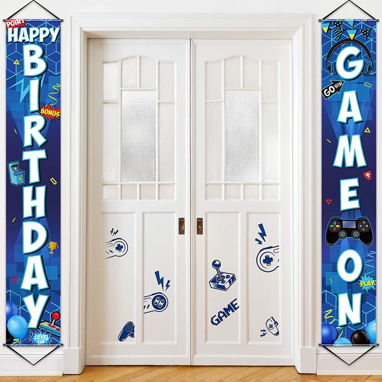 Game On Balloon Banner Video Game Party Decorations, Game Controller Door Sign Happy Birthday Backdrop Banners Miner Gamer Birthday Party Background Block Night Decoration (Blue)