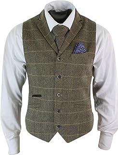 Mens Classic Waistcoat Blend Wool Mix Tweed Collar Check Formal Vest Gilet UK