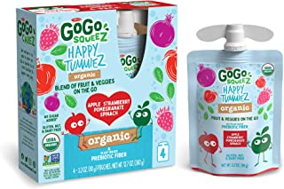 GoGo squeeZ happy tummieZ, Organic Apple Strawberry Pomegranate Spinach, 3.2 Ounce (24 Pouches), USDA Organic Certified, F...