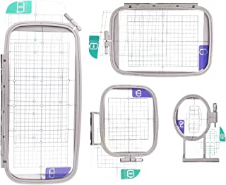 Embroidery Machine Hoop SET w/ Placement Grids for Brother PE-750D, PE-770, PE-780D, Innovis 1250D, PC-6500, PC-8200, PC-8500 And Babylock Ellure, Emore and Esante