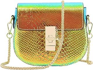 Women Shiny Charming Chain Hologram Holographic Handbag Shoulder Bag Crossbody Bag