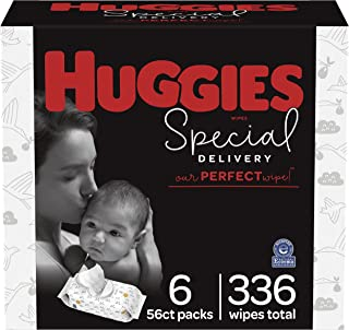Hypoallergenic Baby Wipes, Unscented, Huggies Special Delivery Baby Diaper Wipes, 6 Flip-Top Packs (336 Wipes Total)