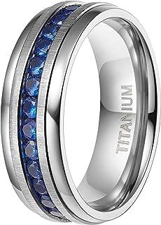خواتم تيتانيوم 4 مم 6 مم 7 مم 8 مم من تايجريد مع خاتم خطوبة زركونيا مكعب