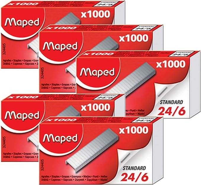 MAPED Lot de 5 Btes de 1000 Agrafes 24//8 Zingu/ées