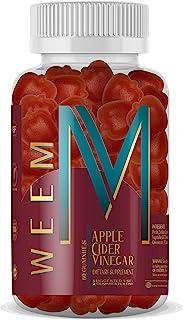 WEEM Apple Cider Vinegar Gummies - Natural, Vegan ACV with Folic Acid- Gluten Free - Vitamin B6 & B12 - Premium Detox & We...