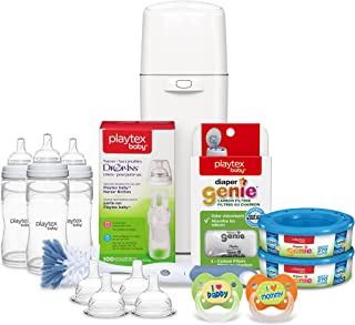 Playtex Baby Diaper Genie Gift Set, Includes Diaper Genie Diaper Pail and Accessories and Playtex Baby Feeding Supplies - Great for Baby Registry