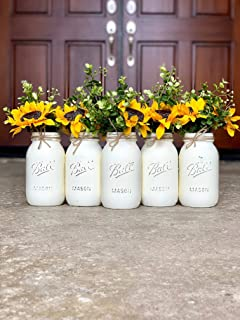 Mason Jar Centerpiece Set, Silk Sunflowers are optional, Your Choice of Jar Colors, 3, 4, or 5 Piece Sets Available, Pint or Quart Size