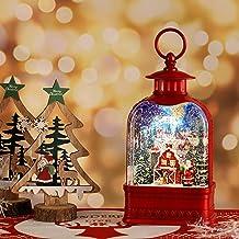 HILIROOM HILIROOM Christmas Snow Globe Lantern - LED Musical Christmas Lantern with Swirling Water Glittering - Santa Scen...