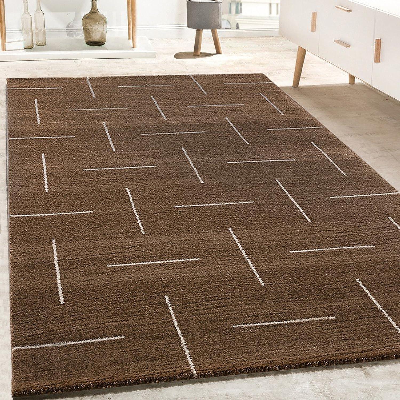 Paco Home Designer Rug Living Room Modern Design In Brown-White Mottled, Size 160x230 cm