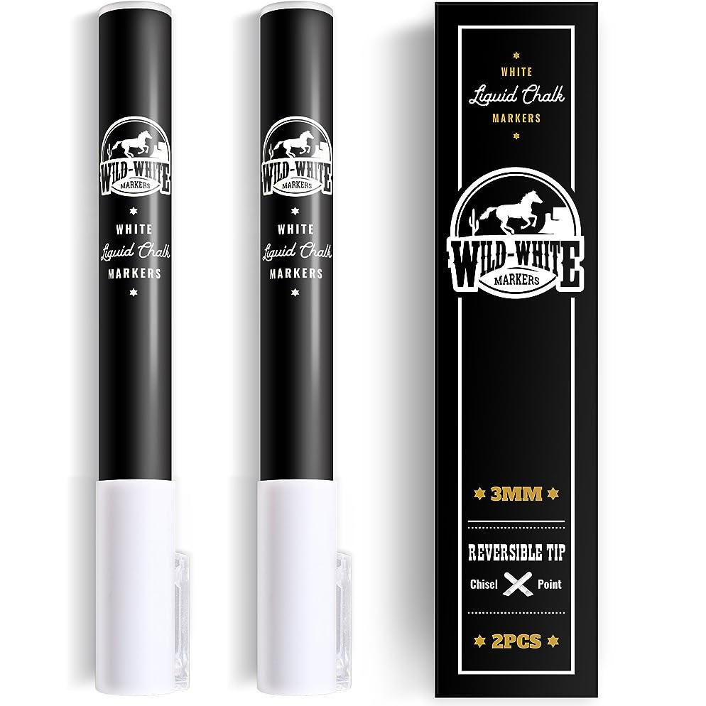 Wild White Chalk Markers 3mm Fine Dual Reversible tip - White Liquid Chalk Marker Pen for Bistro menu Boards, Windows, Glass, Blackboard, Chalkboard, Plastic, Vinil