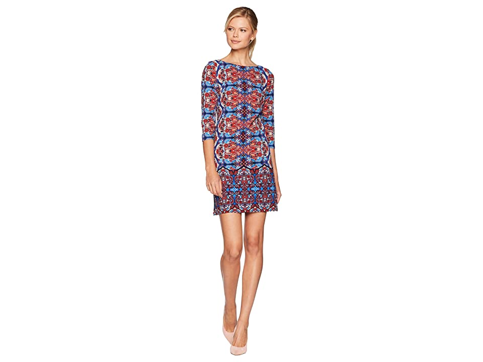 London Times Kaleidoscope Long Sleeve Crepe Dress (Blue/Red) Women