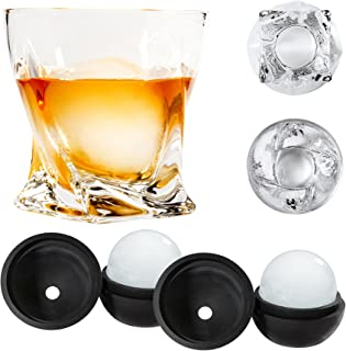 Atlas&Co Premium Whiskey Glasses with ADD-ON Ice Ball Molds – Set of 2 – Gift Set Cocktail Glasses for Bourbon, Irish Whisky, Scotch or, High-Clarity Crystal Glasses