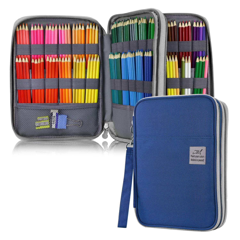 YOUSHARES Estuche 192 ranura la caja de lápiz - capacidad grande Estuche bolso de la pluma de la cremallera de la capacidad grande del cuer Azul: Amazon.es: Oficina y papelería