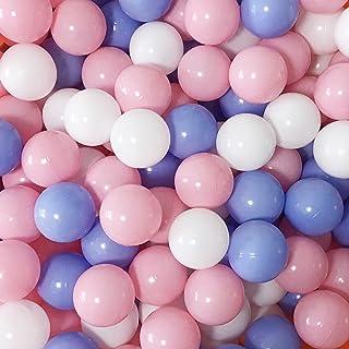 MoonxHome Ball Pit Balls Crush Proof Plastic Children's Toy Balls Macaron Ocean Balls 2.15 Inch Pack of 200 White&Pink&Blue