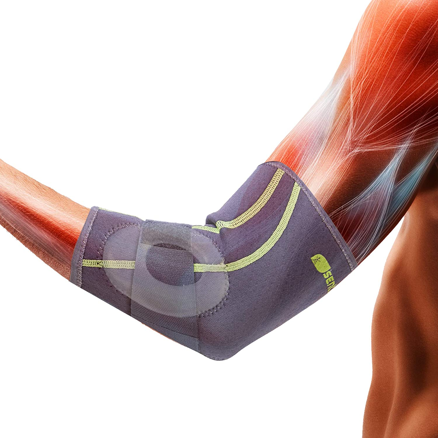 SENTEQ Tennis Golf Elbow Brace Sleeve with Strap & Inner GEL Pads - Best for joint pain relief, prevent injuries, improve blood circulation. Medical Grade Made in Taiwan. (SQ2-N007S): Industrial & Scientific