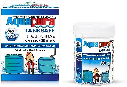 Aquapura Water Purification Tablets, Each Tablet for 500 litres, 50 Tablets Pack, (25,000 litres Purification), 3 Yea...