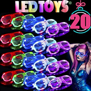 TURNMEON 20 Pack LED Glasses, Light Up Glasses Shutter Shades Glow Glasses Led Party Sunglasses Adults Kids Xmas New Year Eve Glow in The Dark Rave Party Supplies Favors Birthday Holiday Glow Toys