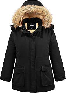 Sponsored Ad - Soularge Women's Winter Plus Size Sherpa Lined Jacket with Detachable Hood
