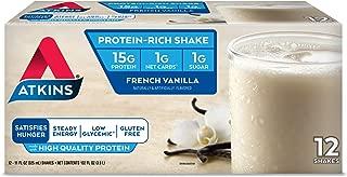 Atkins Gluten Free Protein-Rich Shake, French Vanilla, Keto Friendly, 12 Count
