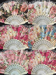 Sales/wholesale Lot 12 Pc Vintage Inspired Victorian Flower Lace Summer Fan for Vintage Wedding Party Decor/Dancing Hand Fan/table Setting/garden Party/party Favor/