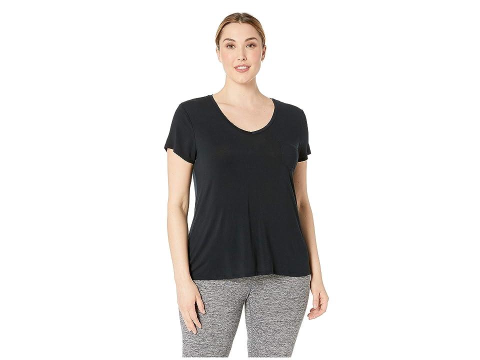 Prana Plus Size Foundation Short Sleeve Top (Black) Women