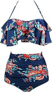 COCOSHIP Women's Retro Boho Flounce Falbala High Waist Bikini Set Chic Swimsuit(FBA)