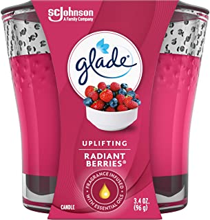 Glade Candle Jar, Air Freshener, Radiant Berries, 3.4 Oz